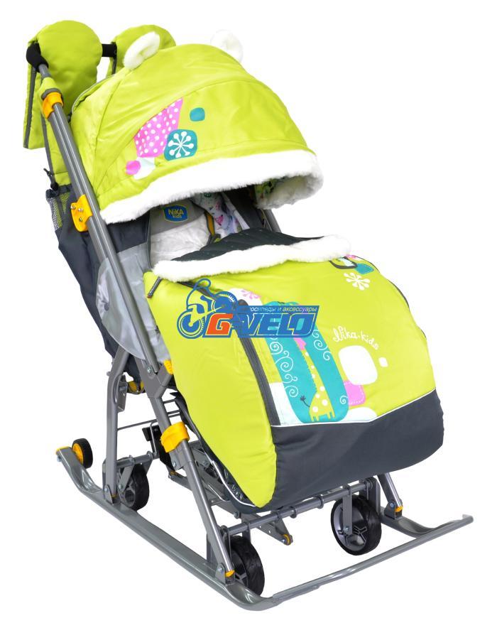 Санки коляска Ника Детям 7-2, Коллаж-жираф, лимонный