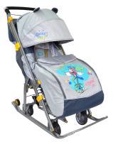 Санки коляска Ника Детям 7, складные, с 4-мя большими колесами, Жонглер, серый