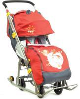 Санки-коляска Ника детям-7, складные с 4-мя большими колесами, красные
