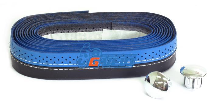 Обмотка руля VELO VLT-007 синий/черный с шитьем