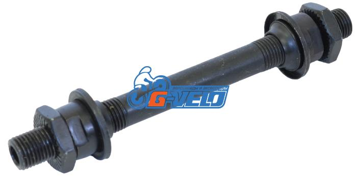 Ось передней втулки под эксцентрик 3/8*108мм, черная, с гайками, конусами, SF-AX01 F
