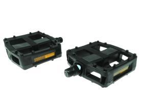 """Педали TRIX MX-P642 ось 9/16"""" пластик/сталь, широкие платформы с шипами, 100x95 мм, с катафотами"""