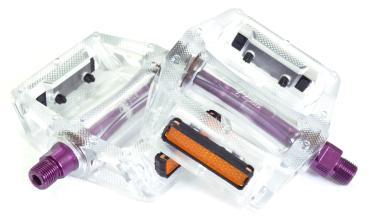 """Педали Z-Plus Z-0911, EDS, пластик прозрачный, ось пурпурная, CrMo ось 9/16"""", 90x95x28mm, 127g"""