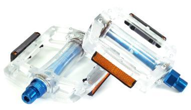 """Педали Z-Plus Z-0911, EDS, пластик прозрачный, ось синяя, CrMo ось 9/16"""", 90x95x28mm, 127g"""