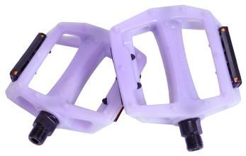 """Педали Z-Plus Z-0911, Sensitive, пластик белый/пурпурный, CrMo ось 9/16"""", 90x95x28mm, 127g,"""