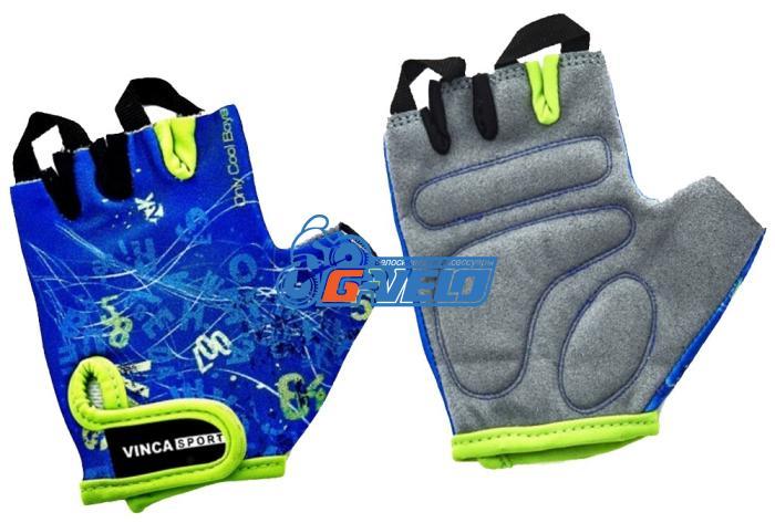 Велоперчатки детские Vinca Sport синие, VG 939 child letters