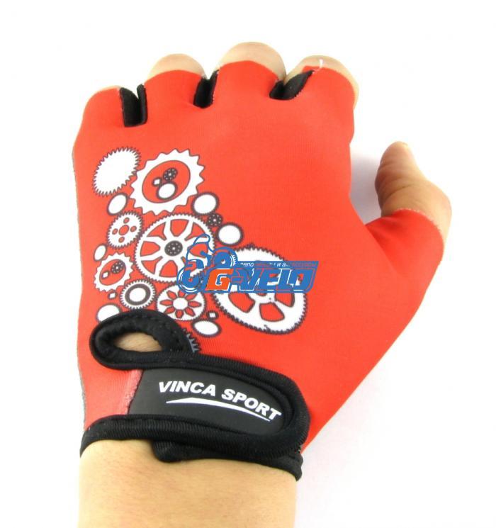 Велоперчатки детские Vinca Sport красные, шестеренки