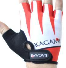 Велоперчатки KAGAMI короткие пальцы, белые/красные