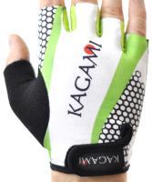 Велоперчатки KAGAMI короткие пальцы, белый/зеленый