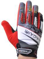 Велоперчатки KAGAMI полные пальцы, красный/серый XXL