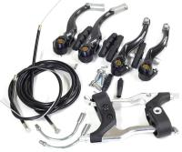 Полный комплект тормозов V-brake, Alhonga перед + зад, с торм. ручками, эконом