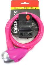 Велозамок SL576 ключ с кронштейном розовый