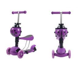 Самокат детский TRIX CORUS, светящиеся колеса: перед 120*30мм, зад 100*48мм, фиолетовый, 3 в 1