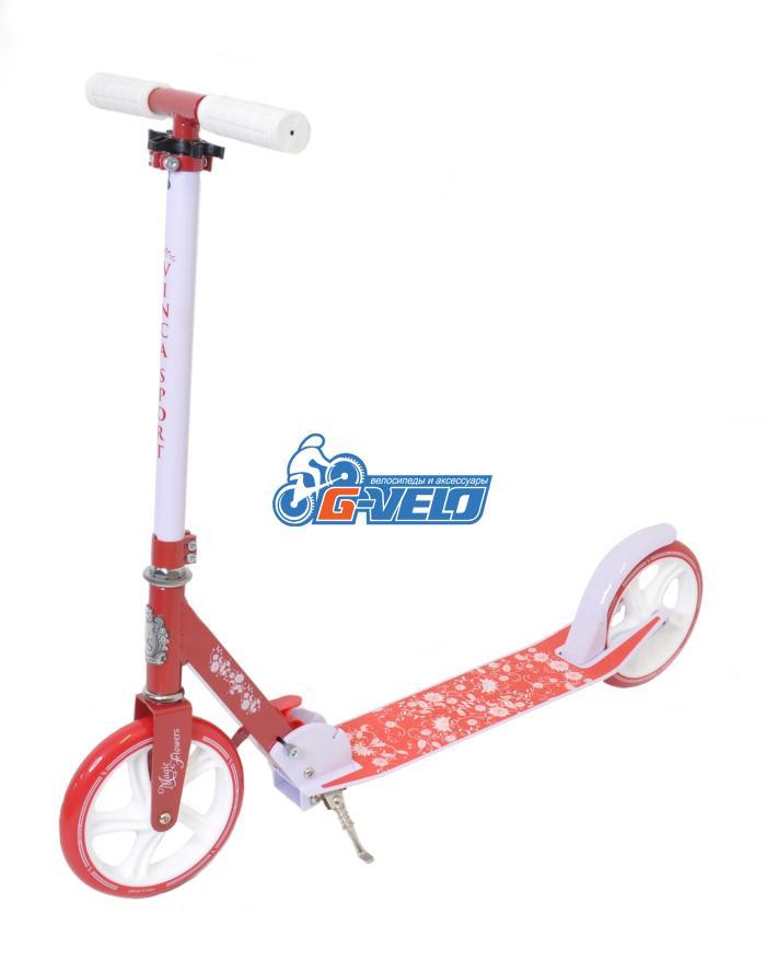 Самокат Vinca Sport, колеса 200мм, алюм/сталь, ABEC 9, красный VSP 10 Magic flowers