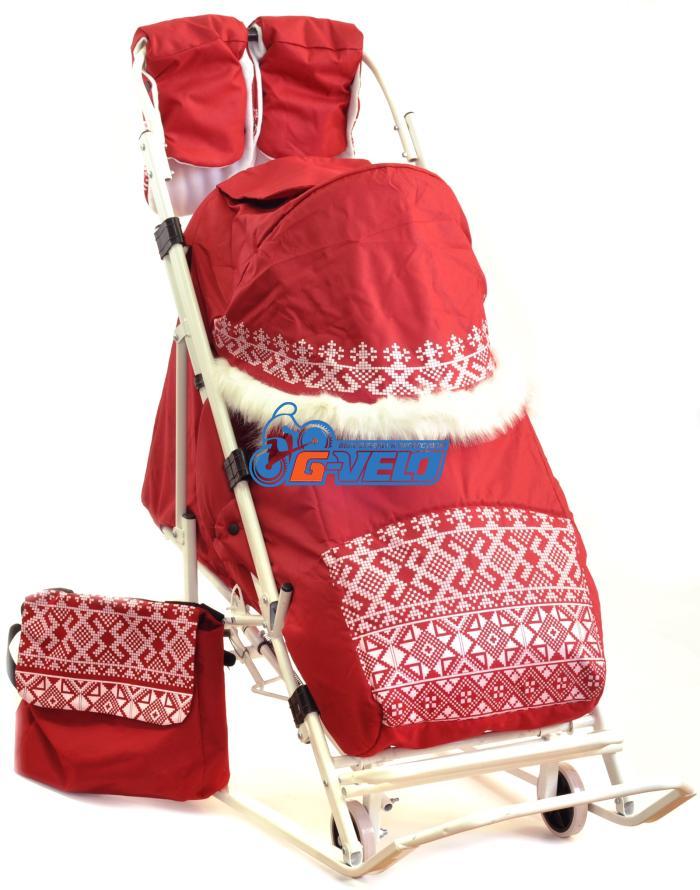 Санки коляска ЭМИ-3 с мехом, старорусский орнамент, красные