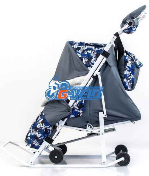 Санки коляска ЭМИ-2 с мехом, серые/синие
