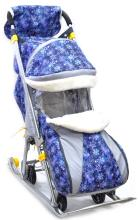 Санки коляска Галактика Детям 1, снежинки синие