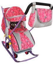 Санки коляска Галактика Детям 2, розовые