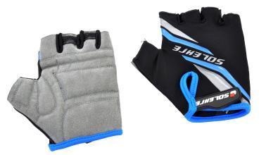 Велоперчатки SOLEHRE SB-01-5030C, черные/голубые