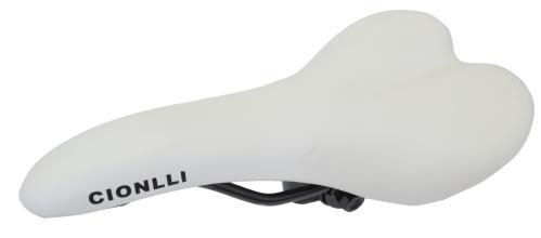 Седло Cionlli 1192, белый, стальные рамки, с замком, 275*145мм