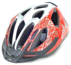 Велошлем CRATONI CRIVIT MTB красный/серебро цветы, 49-54 см