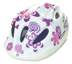 Велошлем детский Vinca sport 5 отверстий, белый, цветы
