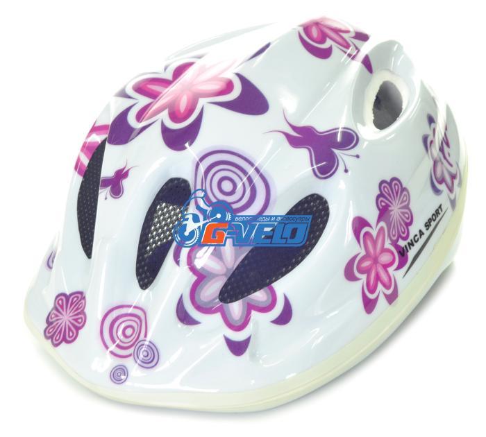 Велошлем Vinca Sport, детский, 5 отверстий, белый, цветы
