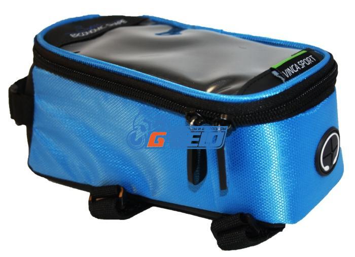 Vinca Sport, Сумка на раму, отд. телефона, отв. для науш. 190х90х95мм, синий кант, FB 07-2 M blue
