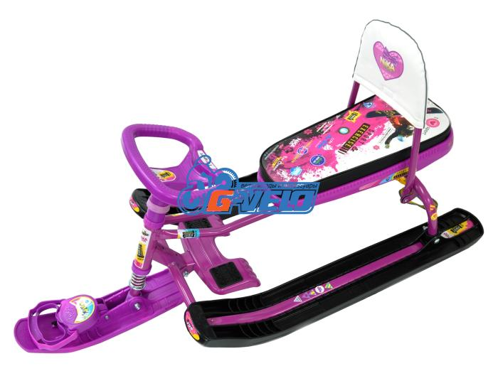 "Снегокат Тимка Спорт 4-1 ""PINK"", розовый, со спинкой, ТС4-1"