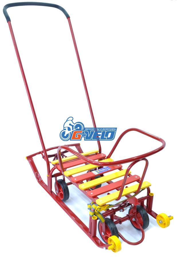 Санки Тимка 5 универсал с колесами, красный