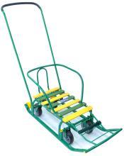 Санки Тимка 5 универсал с колесами, зеленый