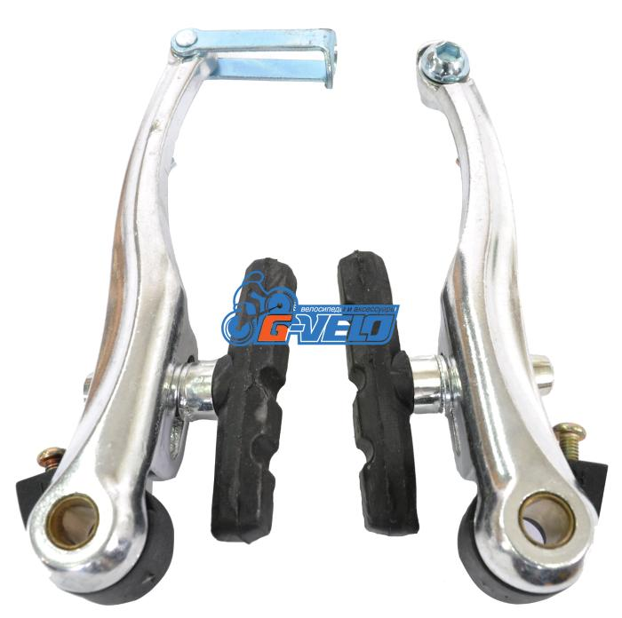 Тормоз V-brake, алюминиевый, серебро, эконом