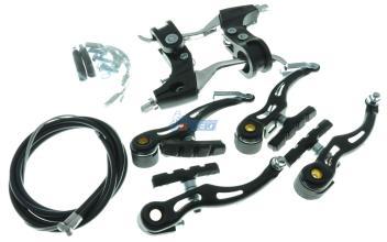 Тормоз V-brake, рубашка+тросик+торм. ручка, эконом, 2 полных комплекта