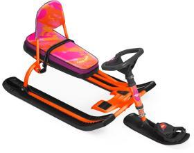 """Снегокат Тимка Спорт 4-1 """"COLORS"""", оранжевый, со спинкой ТС4-1"""