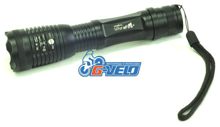 Ультрамощный фонарь UltraFire, диод XML-T6, алюминиевый, регулируемый, черный