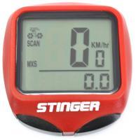 Велокомпьютер STG 15 функций, проводной, подсветка, красный