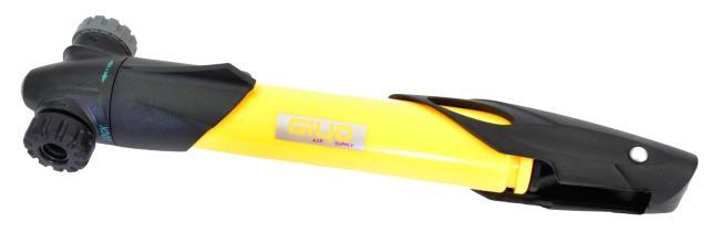 Велонасос GIYO GP-77 mini pump пластик, телескоп, Т-обр.ручка, желтый