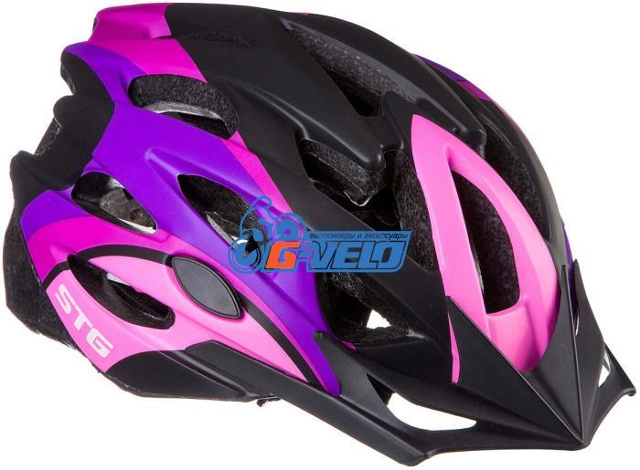 Велошлем STG, MV29-A, M (55-58 см) розовый/фиолетовый/черный, с застежкой