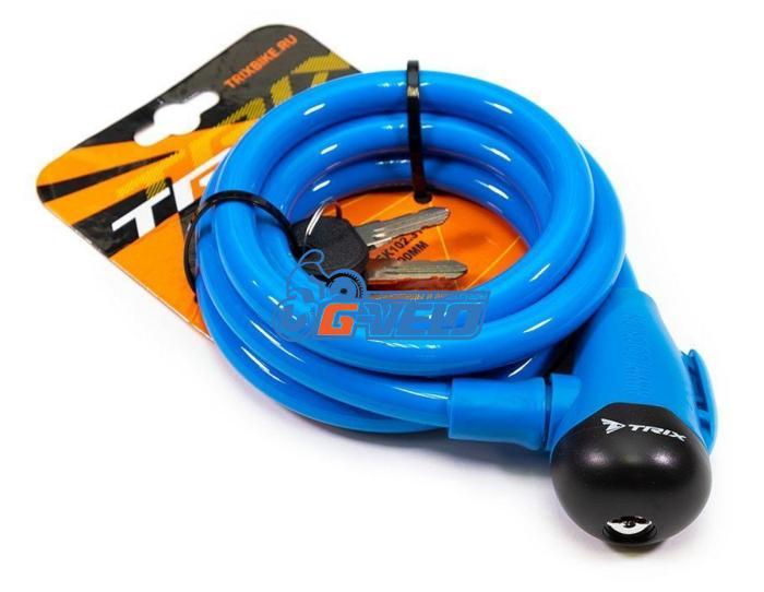 Велозамок TRIX (Размер:Ø12×1500 мм) стальной трос в пластик. оболочке+ ключи B1, GK102.314 голубой