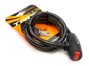 Велозамок TRIX (Размер:Ø10×1200 мм) стальной трос в пластиковой оболочке + ключи, GK102.113 ключи A2