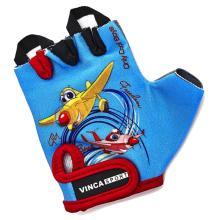 Велоперчатки детские Vinca Sport красные, VG 935 child plane blue