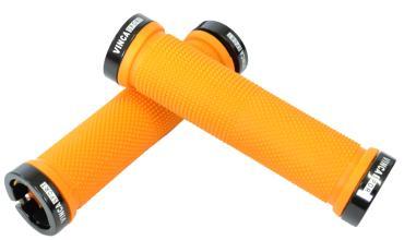 Vinca Sport, Грипсы с метал. зажимами, длина 129мм, оранжевые, зажим чёрный H-G119 orange/black