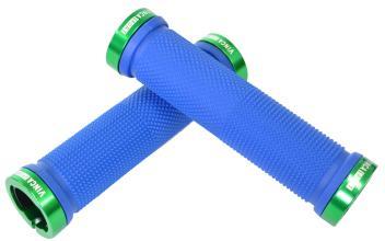 Vinca Sport, Грипсы с метал. зажимами, длина 129мм, синие, зажим зелёный H-G119 blue/green