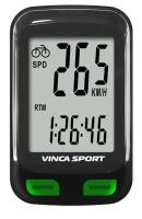 Vinca Sport, Компьютер беспроводной, 12 функций, черный с зеленым, инд.уп. V-3600 black/green