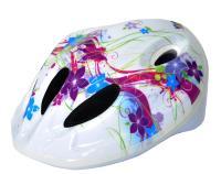 """Vinca Sport, Шлем детский с регулировкой, белый, рисунок - """"цветы"""" VSH 5 flowers"""