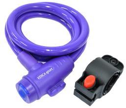 Замок велосипедный Vinca Sport 12*1200мм, фиолетовый, держ. замка, защита от влаги, VS 588violet