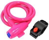 Vinca Sport, Замок вело. 12*1200мм, розовый трос, держ. замка, защита от влаги. инд.уп. VS 582pink