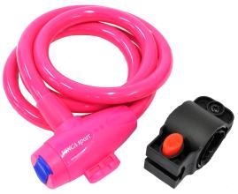 Велозамок Vinca Sport 12*1200мм, розовый трос, держ. замка, защита от влаги. инд.уп. VS 582pink