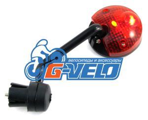 Vinca Sport, Зеркало параболическое с торцевым креплением и фонариком, диаметр 50мм, JY 05