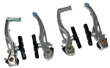 Тормоз V-brake, Vinca Sport, (две пары), алюм., 107мм, колодки 65мм, серебр, VVB 15 silver